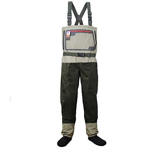 Vadeador Pesca Hombre Pesca con Mosca StockingFoot Waders del Pecho Respirable Impermeable Wader Ropa de Pesca con Calcetines KB004
