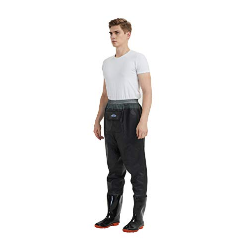 mufly Waders de Pecho Pantalones de vadeo de Pesca con Zapatos Vadeadores de Agua Cruzada Transpirables Vadeadores de Caza para Hombres (UK Size 9- EU Size 43)