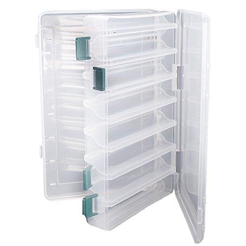 Doble cara pesca señuelos caja topind visible plástico transparente pesca cebo ganchos cajas puntas para tornillos de terminal tackle claro caja de almacenamiento organizador caso 14 compartimentos