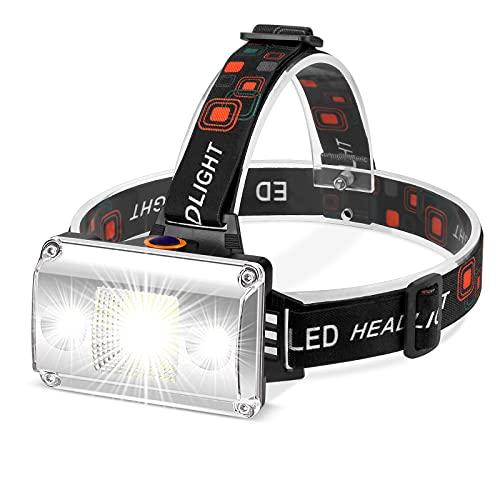 Linterna Frontal LED Recargable, Alta Potencia Linterna Cabeza con 4 Modos, Alcance de 500M, luz para bicicleta conImpermeable IPX4 para Casco, Pesca, Bicicleta y Caza