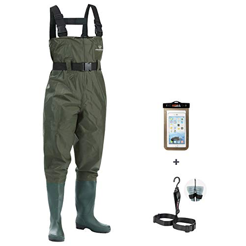 FISHINGSIR Vadeador de Pesca para Hombre, Botas de Pesca, 100% Impermeable, Nylon y PVC con cinturón de vadeo