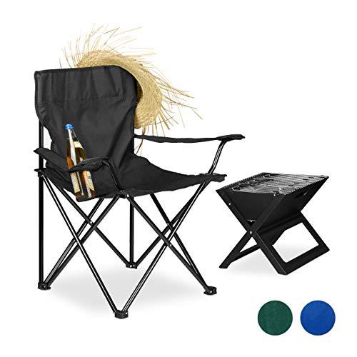 Relaxdays Silla Camping Plegable Acolchada con Reposabrazos, Soporte para Bebidas y Bolsa de Transporte, Negro