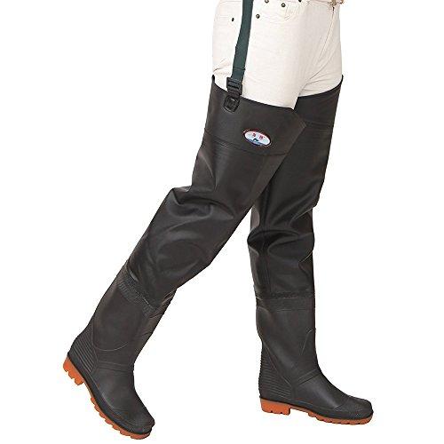 Mufly Pantalones de Pesca, Impermeable Profesionales Wader Cuissardes PVC Gruesa Impermeable y Control de tracción Botas de Pesca (EU 43=UK 9)