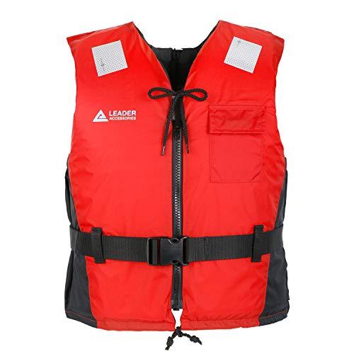 Leader Accessories Chaleco de Ayuda a la Flotabilidad 40-50N CE ISO 12402 Salvavidas Ajuste Fácil Cinturón Ajustable Unisex Adulto (Rojo, M)