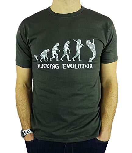My Generation Gifts Rocking Guitar Player Evolution - Mecedora Regalo de cumpleaños Divertida Guitarra/Presente la Camiseta para Hombre Gris De Carbón L