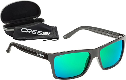 Cressi Rio Sunglasses Gafas de Sol Deportivo Polarizados, Unisex Adultos, Negro/Verde, Talla única