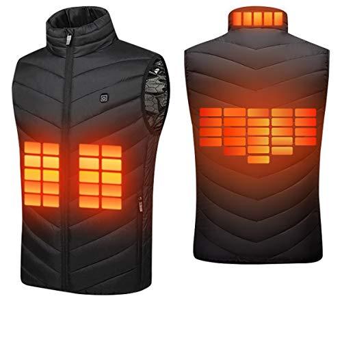 Suxman Chaleco calefactable USB, Chaleco calefactable para Hombres y Mujeres Temperatura térmica Ajustable,Carga USB, calefacción de Espalda y Cuello, Chaqueta Lavable,con guantes invierno (M)