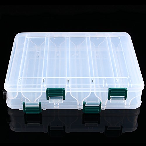 Cajas de Aparejos Caja de Señuelos de Plástico para Almacenamiento de Pesca de Doble Caras con 12 Compartimentos Accesorios de Pescar