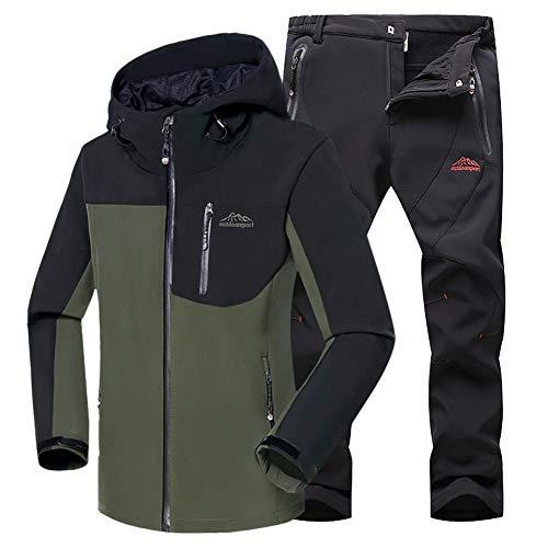 JIANYE Chaqueta Softshell Hombre Pantalon Softshell Conjunto Outdoor Transpirables Chaqueta Montaña Pantalones Montaña Ejército Verde+Negro XL
