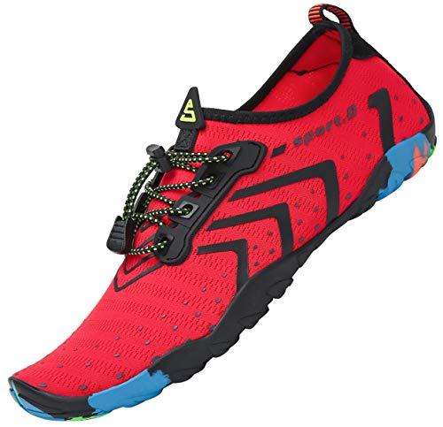 Tmaza Zapatos de Agua Mujer Secado Rápido Escarpines Piscina Respirable Escarpines Snorkel para Vela,Kayak,Buceo Rojo 36 EU