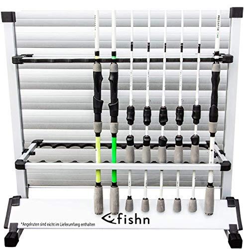 FISHN® Soporte de caña para 24 cañas de Pescar Fabricadas en Aluminio, portacañas, portacañas de Pesca - 72 x 70 x 30 cm (Gris)