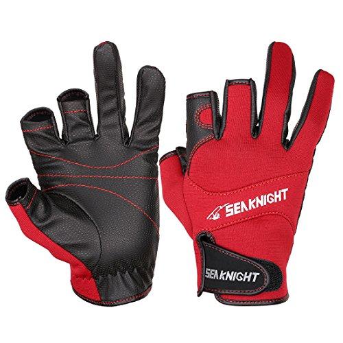 SeaKnight | Guantes de Neopreno | 3 Cut Fingers | Neopreno Antideslizante | Color: Rojo | Taglia: L