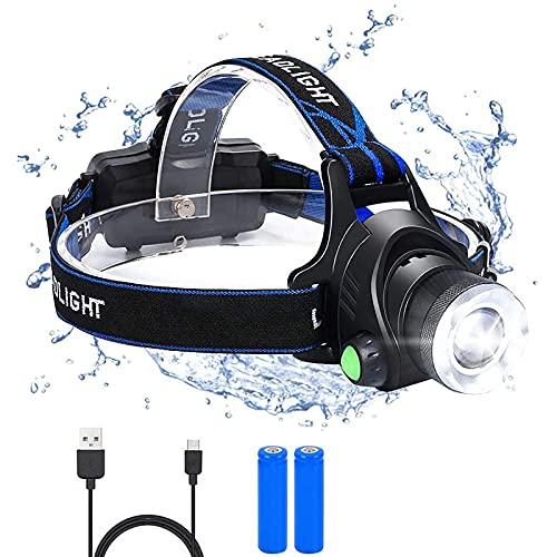 flintronic Frontal Led Recargable, USB Recargable Linternas Frontales, 3 Modos de luz y faro giratorio de 90°, Potencia 6000K 1500Lúmenes Linterna Cabeza, para correr/caminar/andar en bicicleta/pescar