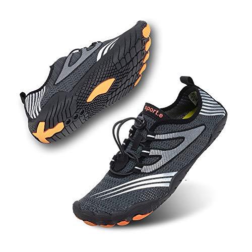 Zapatillas de Running Trekking Agua Hombre Descalzo Escarpines Zapatos de Deportivas Mujer Verano Calzado de Playa Buceo Snorkel Surf Cordones Duradera C-Negro EU42