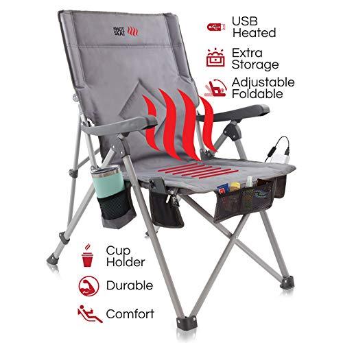 POP Design La Hot Seat, Silla portátil con calefacción Acampar, Deportes de Exterior, Playa y Picnic. Calefacción USB, reposabrazos XL, Bolsa XL, 5 Bolsillos, Posavasos, batería NO incluida.