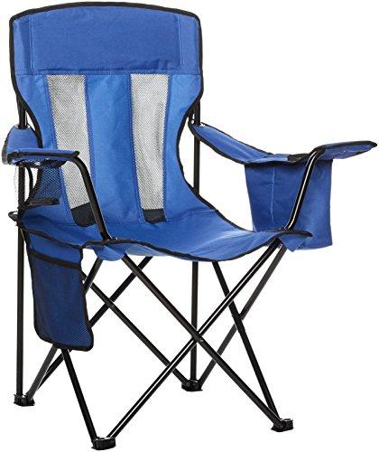 Amazon Basics - Silla de camping con enfriador, Azul (Malla)