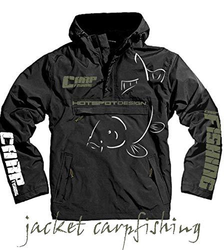 Hotspot Design - Chaqueta impermeable para pesca de carpa, color negro negro negro Talla:large