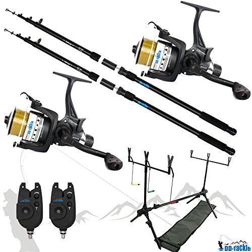 Juego de 2cañas de pescar para carpas, 3,60m, incluye 2bobinas y 2indicadores de picada y trípode