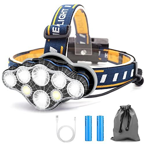 Linterna Frontal Led Recargable, Linterna Cabeza con 8 Modos, USB Súper Brillante Impermeable Con 2 Taterías, Linterna Frontal Para Exteriores, Camping, Pesca, Correr, Trotar, Acampar