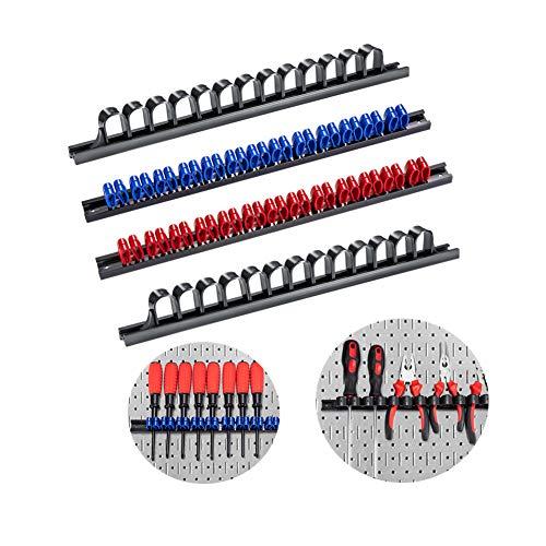 Soporte para cañas de pescar 3-H, soporte para cañas de pescar para el hogar, montaje en pared, estante de almacenamiento, organizador de destornilladores y llaves inglesas (2 negros, 1 rojo y 1 azul)
