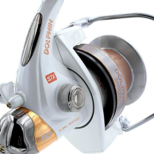 TICA Dolphin STX 9000 4,1 Carrete de Pesca, Aluminio, Blanco, Dorado, 4.1