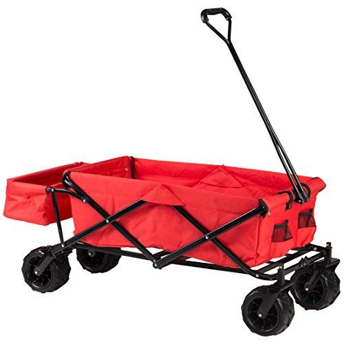 Ultrasport Carro plegable, carretilla con funda para el transporte, práctico, de exterior y para pícnic, adecuado para excursiones y para la playa, con bolsa de transporte, rojo, carga máx. 100 kg