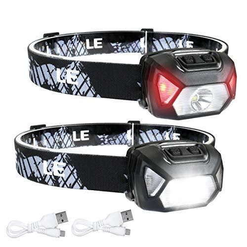 LE Linterna Frontal LED Recargable 2000lux (2 Pack), Linterna Cabeza USB Recargable D500, 6 Modos de Luz con Luz Rojo, Impermeable IPX6, Luz Frontal Cabeza para Correr, Camping, Excursión, Pesca