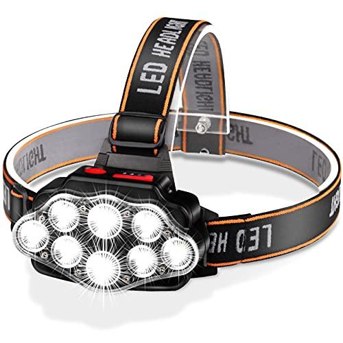 Linterna Frontal LED Recargable, Alta Potencia Linterna Cabeza con 4 Modos, Alcance de 500M, Linterna Frontal LED conImpermeable IPX20 para Casco, Pesca, Bicicleta, Camping y Caza